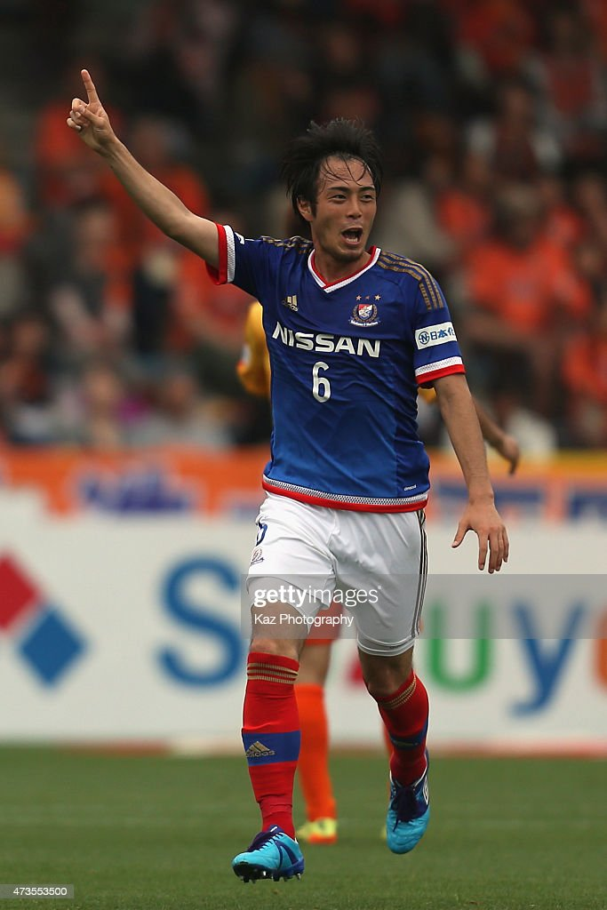 Yuta Mikado of Yokohama F.Marinos celebrates scoring his team's first goal during the J.League match between Shimizu S-Pulse and Yokohama F.Marinos at IAI Stadium Nihondaira on May 16, 2015 in Shizuoka, Japan.