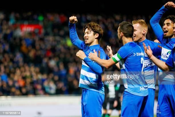 Yuta Nakayama of PEC Zwolle, Bram van Polen of PEC Zwolle, Mike van Duinen of PEC Zwolle, Jarni Koorman of PEC Zwolle during the Dutch Eredivisie...