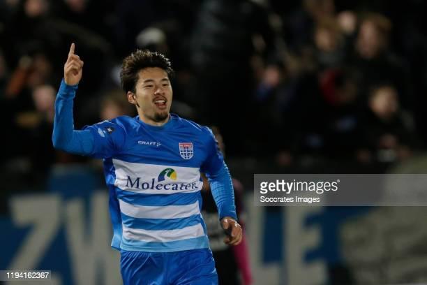 Yuta Nakayama of PEC Zwolle celebrates 3-3 during the Dutch Eredivisie match between PEC Zwolle v FC Utrecht at the MAC3PARK Stadium on January 17,...