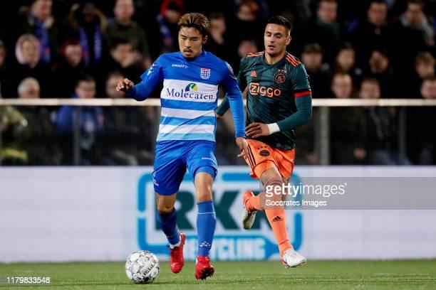 Yuta Nakayama of PEC Zwolle, Dusan Tadic of Ajax during the Dutch Eredivisie match between PEC Zwolle v Ajax at the MAC3PARK Stadium on November 1,...