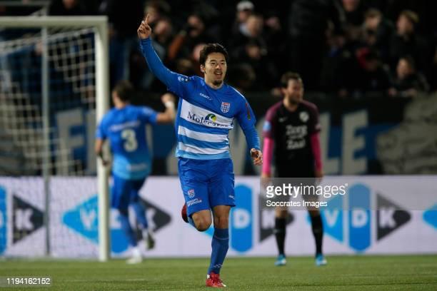 Yuta Nakayama of PEC Zwolle scored during the Dutch Eredivisie match between PEC Zwolle v FC Utrecht at the MAC3PARK Stadium on January 17, 2020 in...