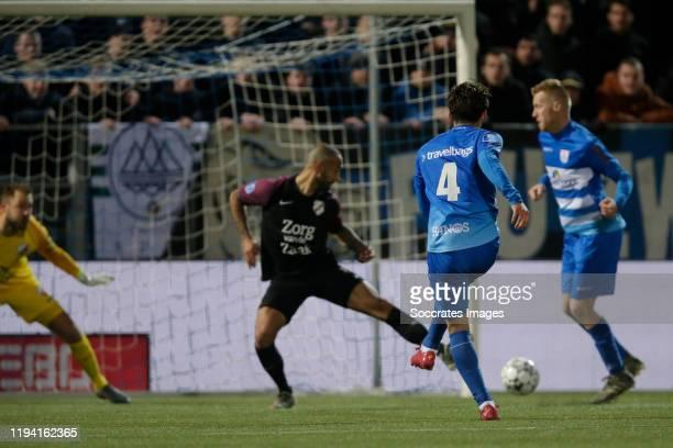 Yuta Nakayama of PEC Zwolle scores 3-3 during the Dutch Eredivisie match between PEC Zwolle v FC Utrecht at the MAC3PARK Stadium on January 17, 2020...