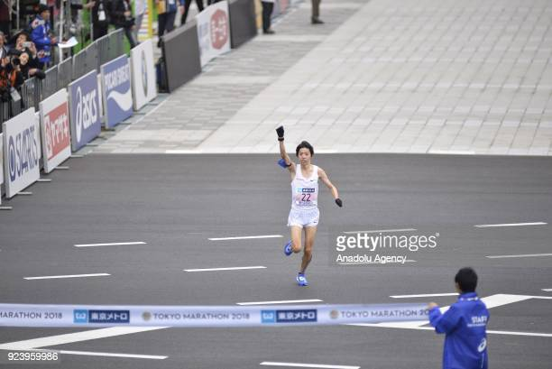 Yuta Shibata crosses the finish line and won the second place of the 12th Tokyo Marathon in Tokyo Japan on Sunday February 25 2018