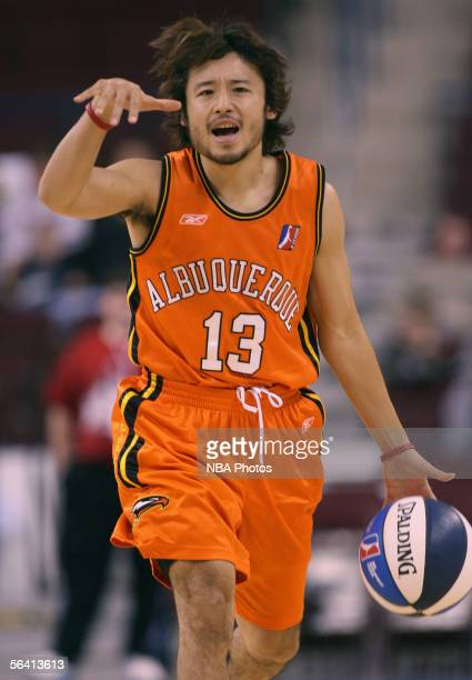 Yuta Tabuse of the Albuquerque Thunderbirds calls out a play as he brings the ball into the front court at Alltel Arena on December 10 2005 in North...