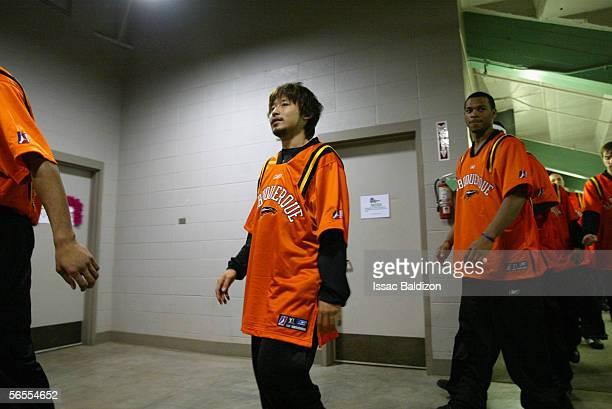 Yuta Tabuse of the Albuquerque Thunderbirds enters the game against the Tulsa 66ers on November 19 2005 at Expo Square Pavillion in Tulsa Oklahoma...
