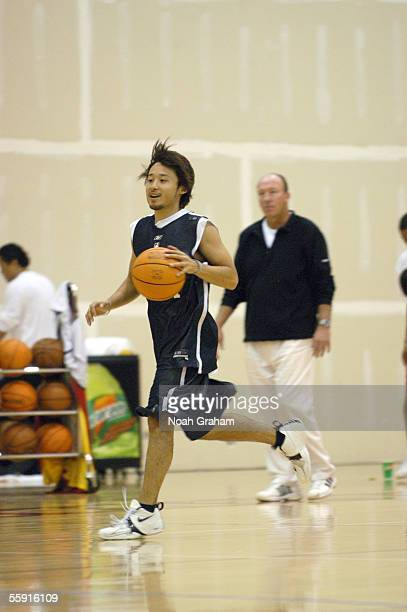 Yuta Tabuse of the Los Angeles Clippers drives upcourt during practice at the NBA TV Real Training Camp on October 6, 2005 at the Santa Barbara City...