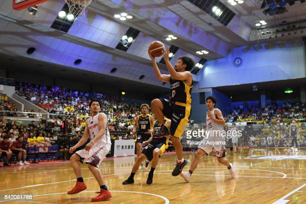 Yuta Tabuse of the Tochigi Brex lays the ball up during the BLeague Kanto Early Cup 3rd place match between Kawasaki Brave Thunders and Tochigi Brex...