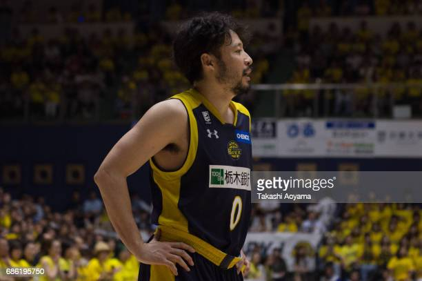 Yuta Tabuse of the Tochigi Brex looks on during the B League 2017 semi final match between Tochigi Brex and SeaHorses Mikawa at Utsunomiya Gymnasium...