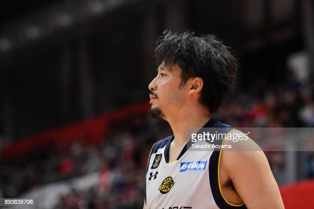 Yuta Tabuse of the Tochigi Brex looks on during the BLeague B1 game between Alvark Tokyo and Tochigi Brex at Arena Tachikawa Tachihi on December 16...