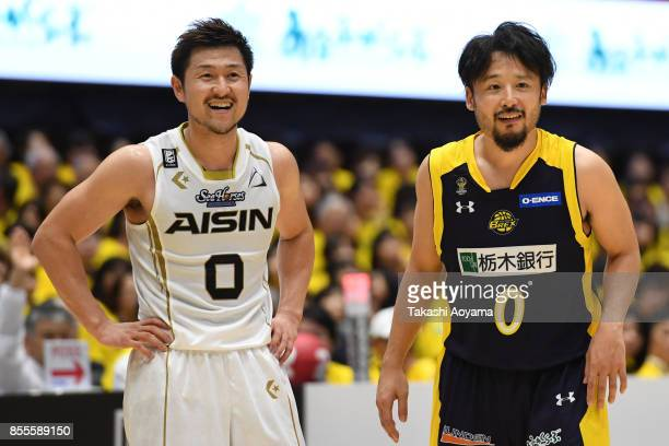 Yuta Tabuse of the Tochigi Brex talks with Ryoma Hashimoto of the SeaHorse Mikawa during the BLeague game between Tochigi Brex and Seahorses Mikawa...