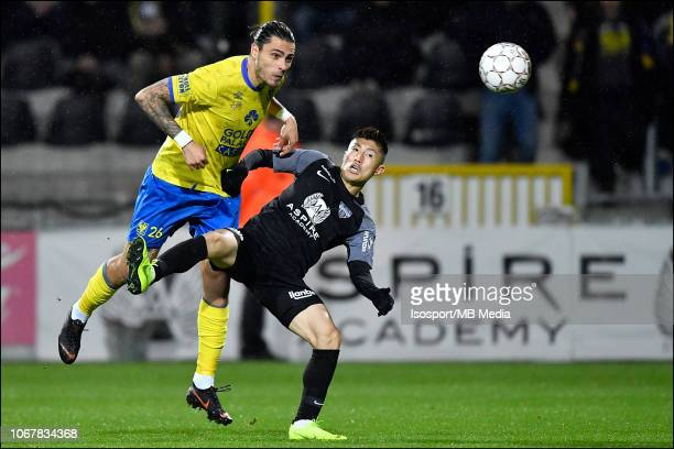 Yuta Toyokawa and Jorge Teixeira fight for the ball during the Jupiler Pro League match between KAS Eupen and SintTruidense VV at Kehrwegstadion on...
