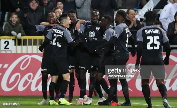 Yuta Toyokawa celebrates after scoring a goal during the Jupiler Pro League match between KAS Eupen and RSC Anderlecht at Kehrwegstadion on October...