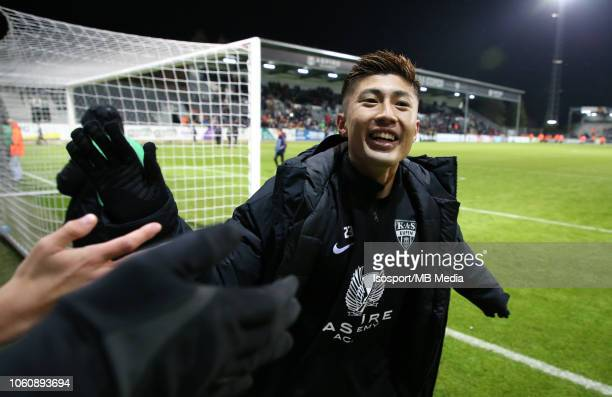 Yuta Toyokawa celebrates after winning during the Jupiler Pro League match between KAS Eupen and RSC Anderlecht at Kehrwegstadion on October 28 2018...