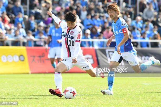 Yuta Toyokawa of Fagiano Okayama in action during the JLeague J2 match between Yokohama FC and Fagiano Okayama at Nippatsu Mitsuzawa Stadium on...