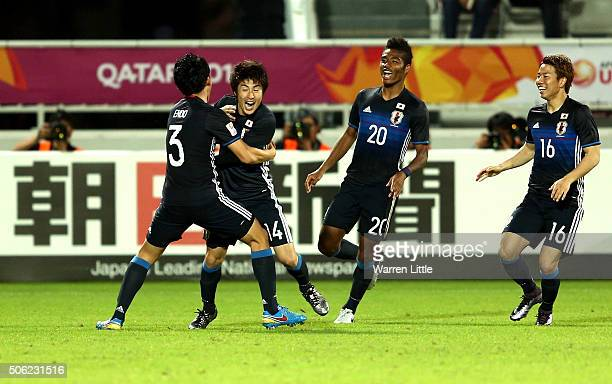 Yuta Toyokawa of Japan celebrates scoring a goal in extra time during the AFC U23 Championship quarter final match between Japan and Iran at the...