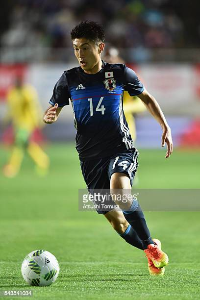 Yuta Toyokawa of Japan in action during the U23 international friendly match between Japan and South Africa at the Matsumotodaira Football Stadium on...