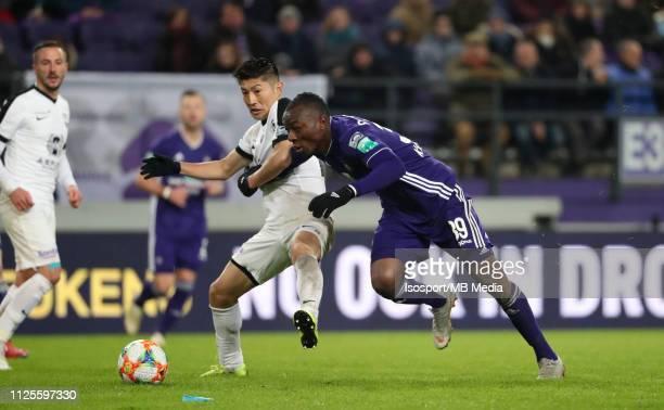 Yuta Toyokawa of Kas Eupen and Edo Kayembe of Anderlecht fight for the ball during the Jupiler Pro League match between RSC Anderlecht and KAS Eupen...