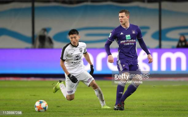 Yuta Toyokawa of Kas Eupen and James Lawrence of Anderlecht fight for the ball during the Jupiler Pro League match between RSC Anderlecht and KAS...