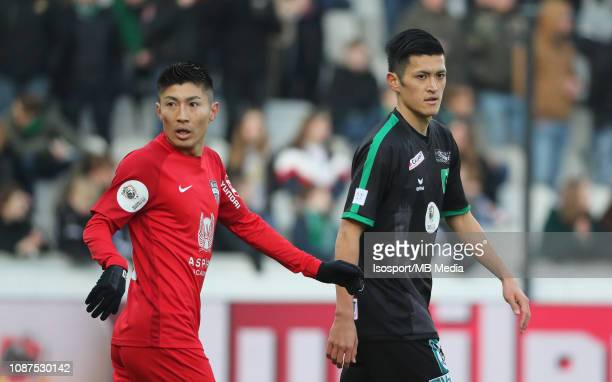 Yuta Toyokawa of Kas Eupen and Naomichi Ueda of Cercle during the Jupiler Pro League match between Cercle Brugge KSV and KAS Eupen at Jan Breydel...