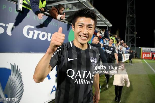 Yuta Toyokawa of KAS Eupen celebrates after winning the Jupiler Pro League match between AS Eupen and KRC Genk at Kehrwegstadion on November 2 2019...