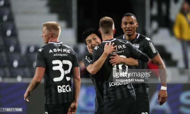 Yuta Toyokawa of KAS Eupen celebrates with Siebe Blondelle of KAS Eupen after winning the Jupiler Pro League match between AS Eupen and KRC Genk at...