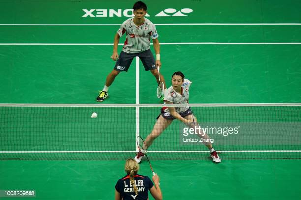 Yuta Watanabe and Arisa Higashino of Japan against Marvin Emil Seidel and Linda Efler of Germany during the day two of Total BWF World Championships...