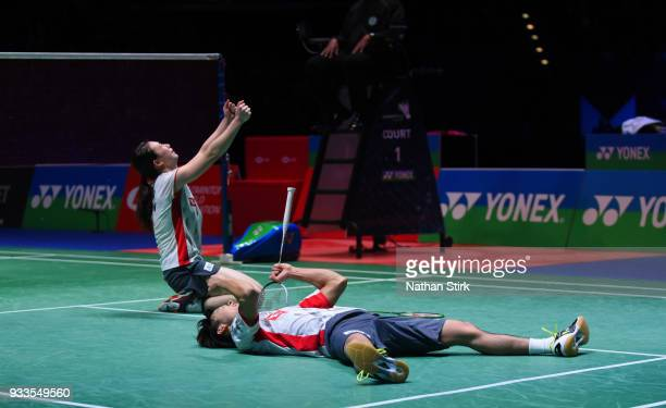 Yuta Watanabe and Arisa Higashino of Japan celebrate as they win the mixed doubles as they beat Zheng Siwei and Hunag Yaqiong of China on day five of...