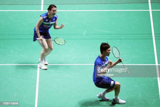 Yuta Watanabe and Arisa Higashino of Japan celebrate match point during their mixed doubles semi final match against Lauren Smith and Marcus Ellis of...