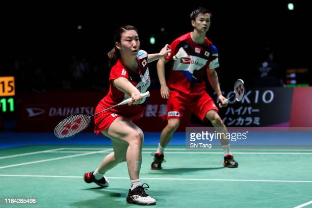Yuta Watanabe and Arisa Higashino of Japan compete in the Mixed Doubles quarter finals match against Chan Peng Soon and Goh Liu Ying of Malaysia...