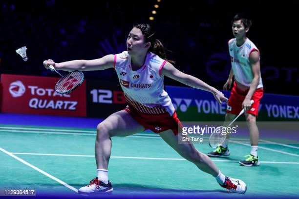 Yuta Watanabe and Arisa Higashino of Japan compete in the Mixed Doubles semi finals match against Goh Soon Huat and Lai Shevon Jemie of Malaysia on...