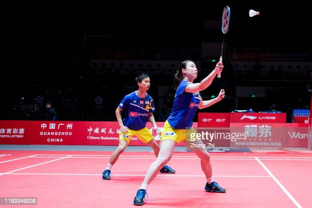 Yuta Watanabe and Arisa Higashino of Japan in action during the match against Zheng Si Wei and Huang Ya Qiong of China on day 1 of the HSBC BWF World...