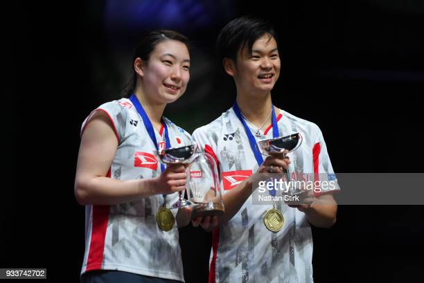 Yuta Watanabe and Arisa Higashino of Japan win the mixed doubles as they beat Zheng Siwei and Hunag Yaqiong of China on day five of the Yonex All...
