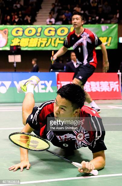 Yuta Watanabe and Hiroyuki Endo compete in the Men's Doubles semi final against Tauro Hoki and Yugo Kobayashi during day four of the 70th All Japan...