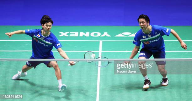 Yuta Watanabe and Hiroyuki Endo in action during their Men's Double final against Takeshi Kamura and Keigo Sonoda of Japan during day five of YONEX...