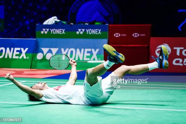 Yuta Watanabe and Hiroyuki Endo of Japan celebrate during the Men's Double final match against Marcus Fernaldi Gideon and Kevin Sanjaya Sukamuljo of...