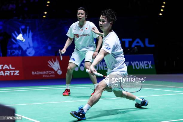 Yuta Watanabe and Hiroyuki Endo of Japan compete during the Men's Double final match against Marcus Fernaldi Gideon and Kevin Sanjaya Sukamuljo of...