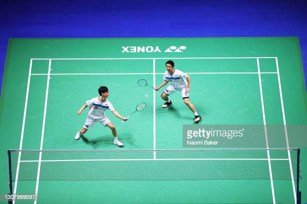 Yuta Watanabe and Hiroyuki Endo of Japan in action during their Men's Doubles quarter final match against Mathias Christiansen and Niclas Nohr of...