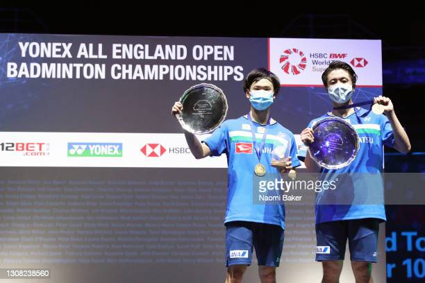 Yuta Watanabe and Hiroyuki Endo pose with the trophy after their victory in the Men's Double final against Takeshi Kamura and Keigo Sonoda of Japan...