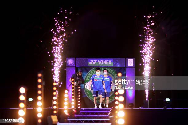 Yuta Watanabe and Hiroyuki Endo walk out ahead of during their Men's Double final against Takeshi Kamura and Keigo Sonoda of Japan during day five of...