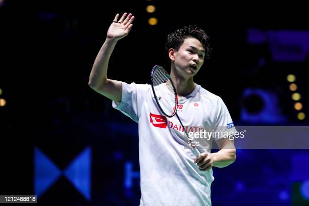 Yuta Watanabe of Japan celebrates victory after the Men's Doubles semi-final match against Vladimir Ivanov and Ivan Sozonov of Russia on day four of...