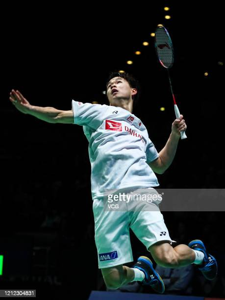 Yuta Watanabe of Japan competes in the Men's Doubles quarter-final match against Mohammad Ahsan and Hendra Setiawan of Indonesia on day three of...