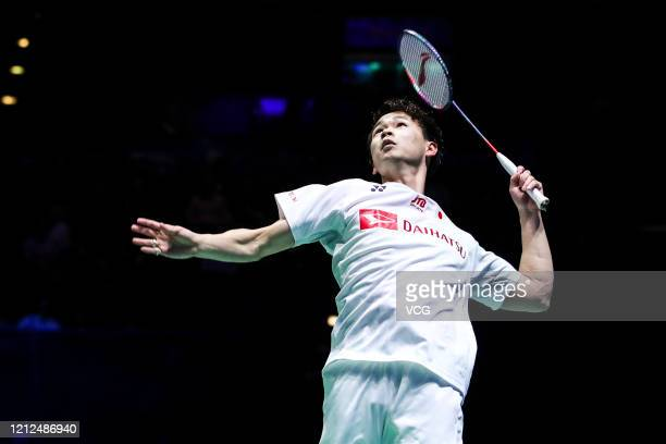 Yuta Watanabe of Japan competes in the Men's Doubles semi-final match against Vladimir Ivanov and Ivan Sozonov of Russia on day four of Yonex All...