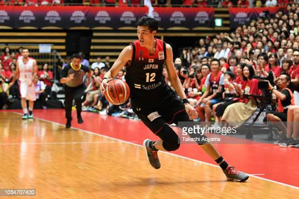 Yuta Watanabe of Japan dribbles the ball during the FIBA Men's World Cup Asian Qualifier 2nd Round Group F match between Japan and Iran at Ota City...
