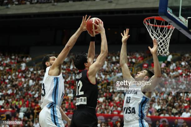 Yuta Watanabe of Japan drives to the basket during the International Basketball Games Tokyo 2020 Olympic Games test event between Japan and Argentina...