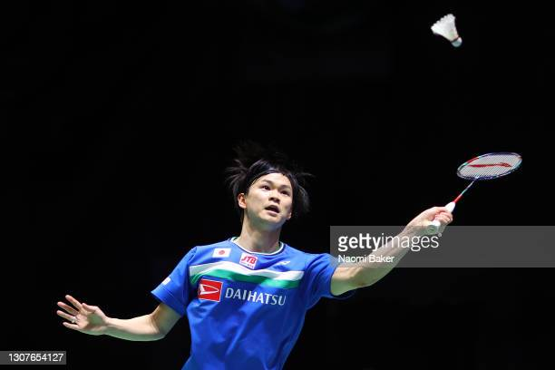 Yuta Watanabe of Japan in action during his mixed doubles match with Arisa Higashino of Japan during day one of YONEX All England Open Badminton...