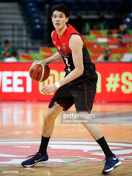 Yuta Watanabe of Japan in action during the 2016 FIBA World Olympic Qualifying basketball Group A match between Czech Republic and Japan at Kombank...