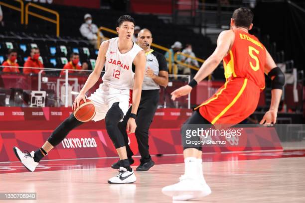 Yuta Watanabe of Team Japan sets up the offense against Spain during the first half of the Men's Preliminary Round Group C game on day three of the...