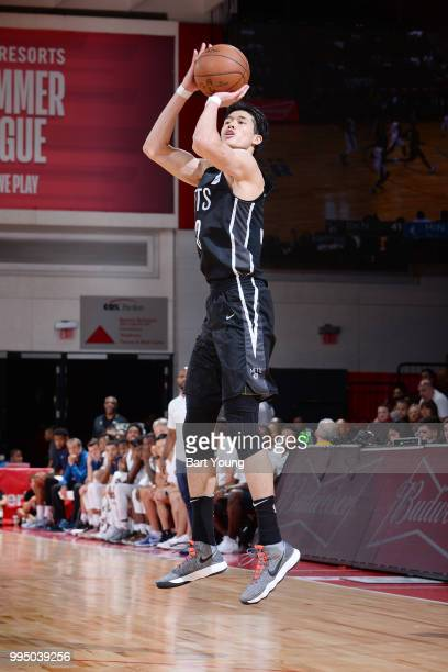 Yuta Watanabe of the Brooklyn Nets shoots the ball during the game against the Minnesota Timberwolves during the 2018 Las Vegas Summer League on July...