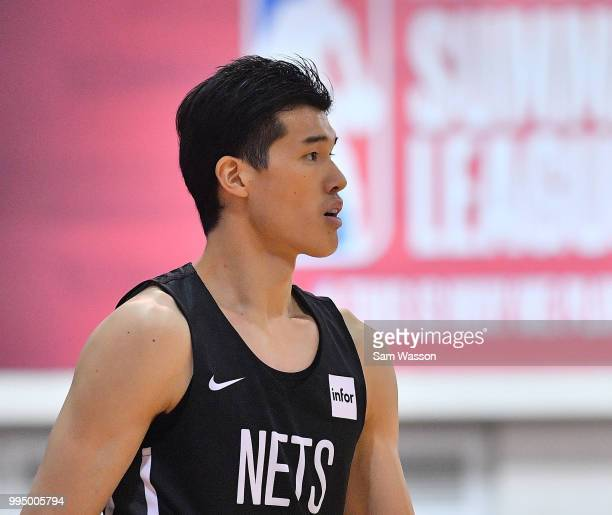 Yuta Watanabe of the Brooklyn Nets stands on the court during his team's game against the Orlando Magic during the 2018 NBA Summer League at the Cox...