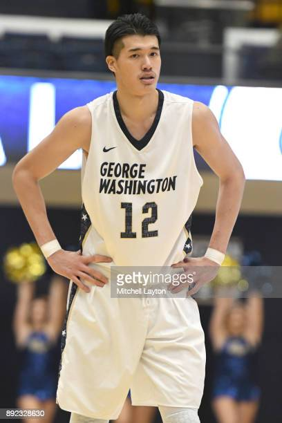 Yuta Watanabe of the George Washington Colonials looks on during a college basketball game against the Princeton Tigers at the Smith Center on...